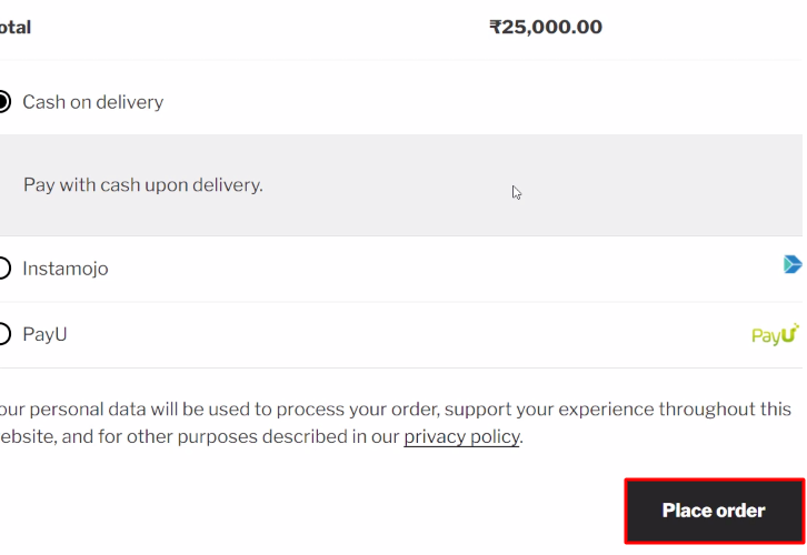Place Order WooCommerce