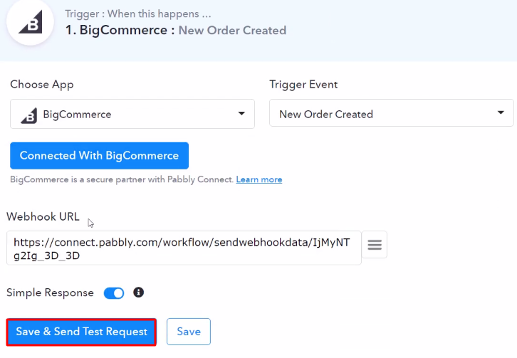 Send Test Request BigCommerce