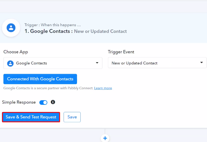 Send Test Request Google Contacts