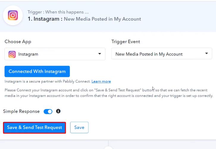 Send Test Request Instagram