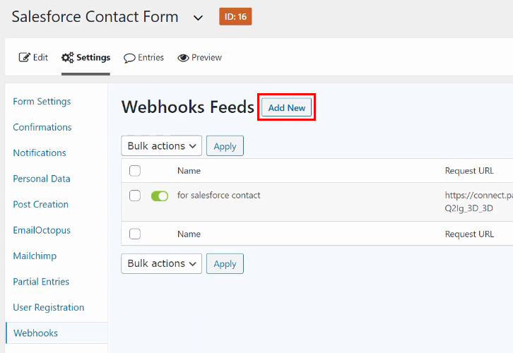 Add New Webhook