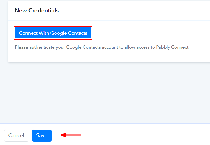 Authorize Google Contacts