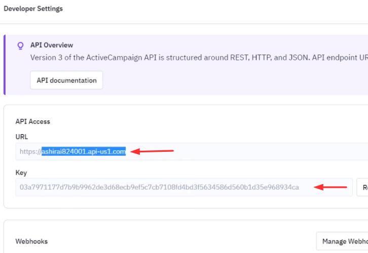 Copy the API Key and URL
