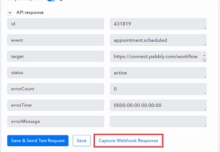 Capture Webhook Response for Acuity Scheduling to ClickUp Integration