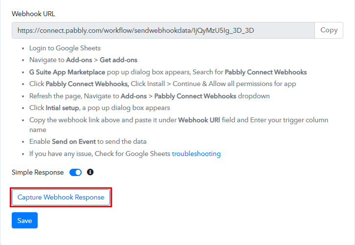 Capture Webhook Response for Google Sheets to Bubble Integration