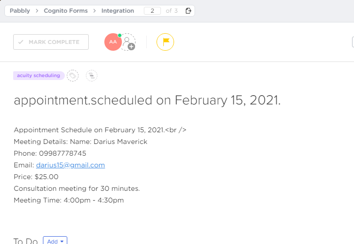 Check Response for Acuity Scheduling to ClickUp Integration