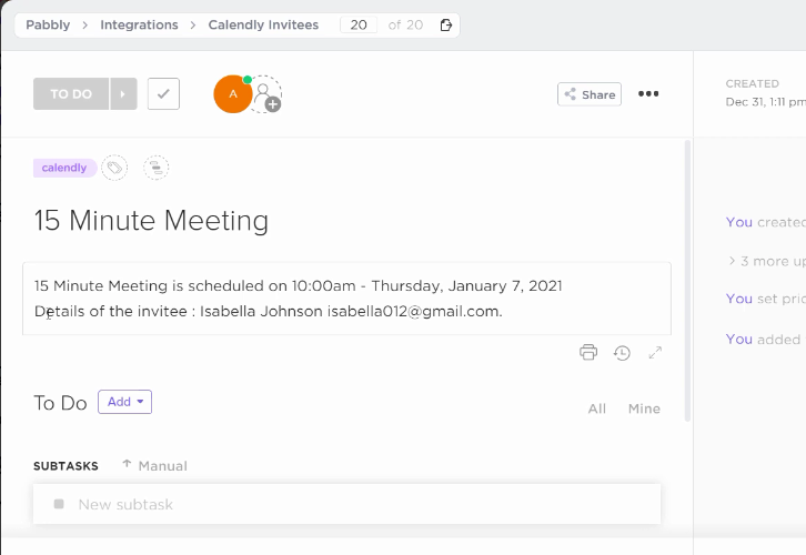 Check Response for Calendly to ClickUp Integration
