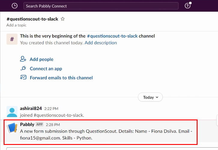 Check Response for QuestionScout to Slack Integration