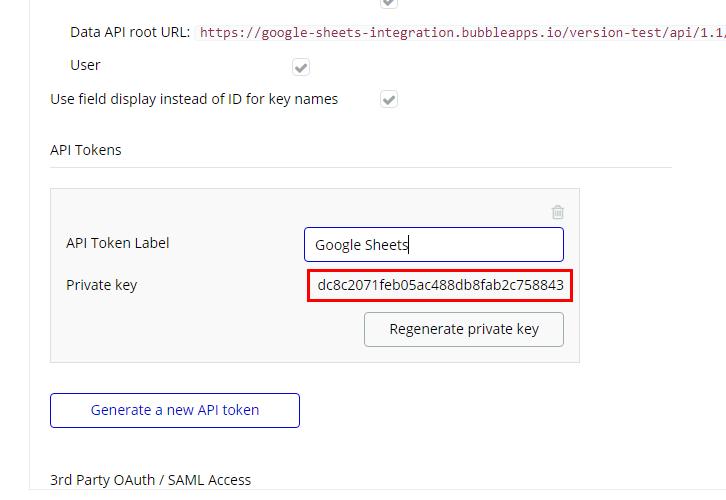 Copy API Token Bubble