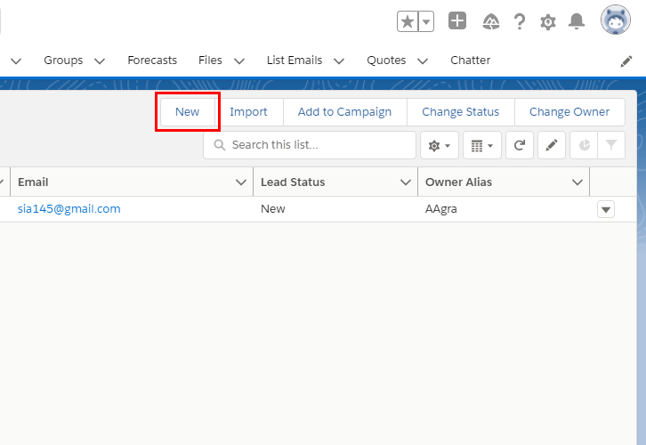 Create a New Lead for Salesforce to MailChimp Integration