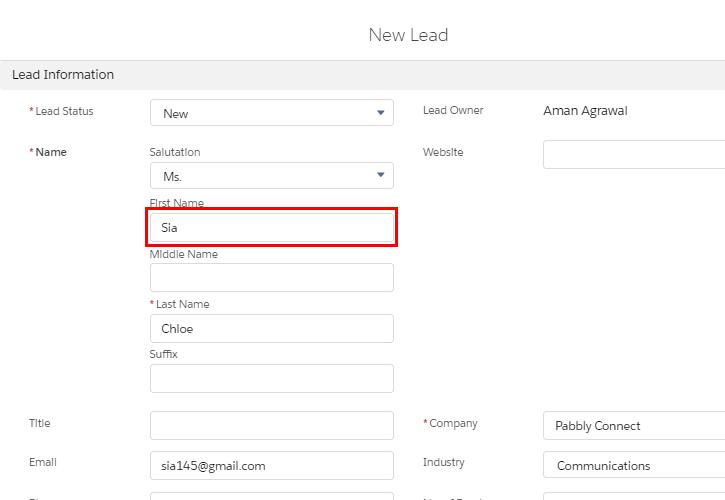 Enter Lead Info