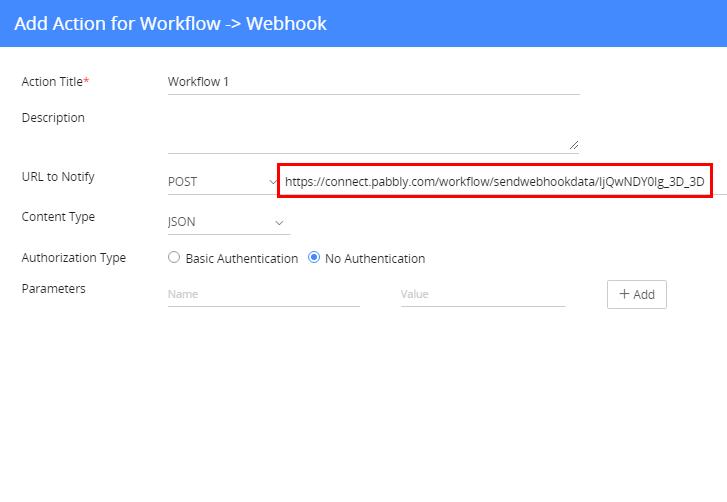 Fill Action Details for Webhook