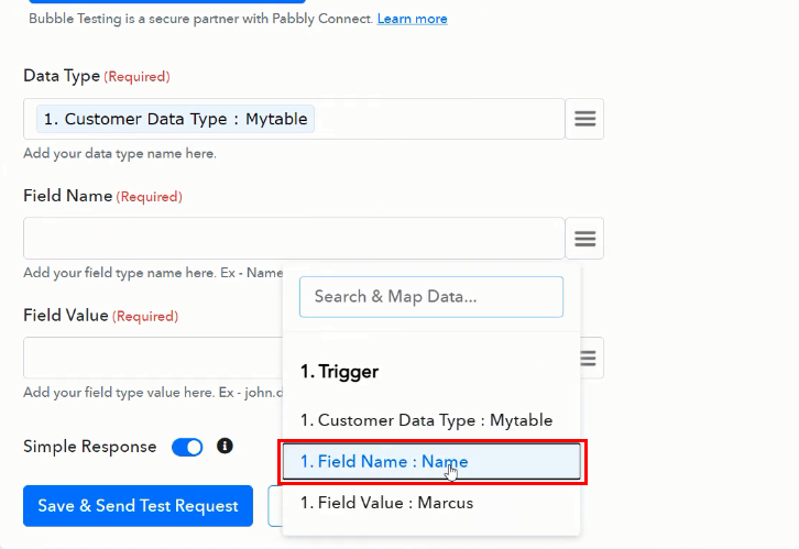 Map the Fields for Google Sheets to Bubble Integration