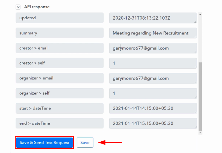 Save and Send Test Request for Google Calendar to ClickUp Integration