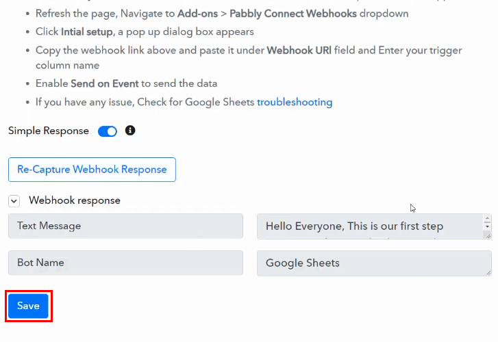 Save the Response for Google Sheets to Discord Integration