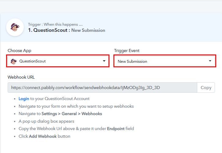 Select QuestionScout for QuestionScout to Slack Integration