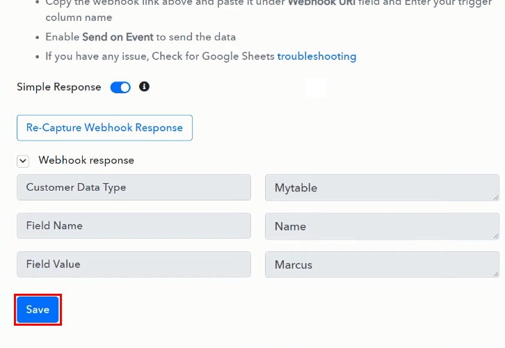 Test the Response for Google Sheets to Bubble Integration