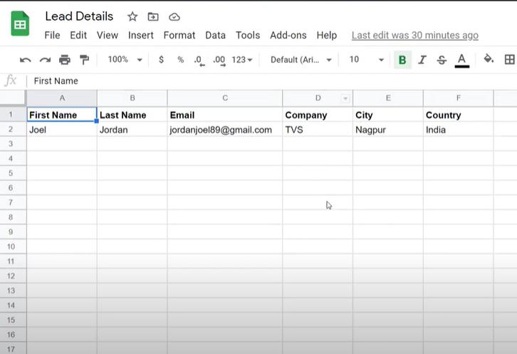 Create a Google Sheets