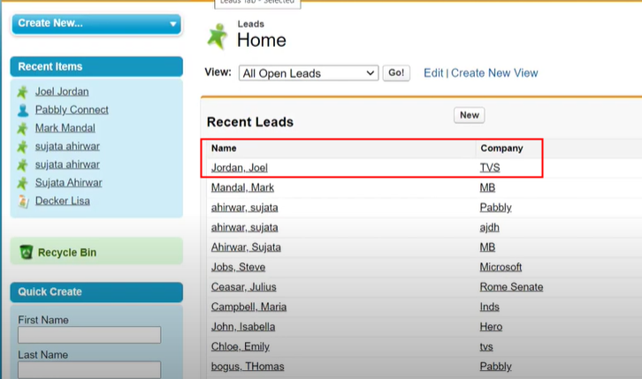 Check Response in Salesforce Dashboard