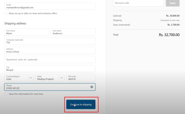 Make a Purchase to Test Shopify Integration
