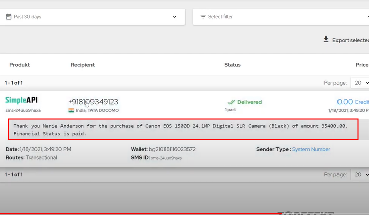 Check Response in BulkGate Dashboard