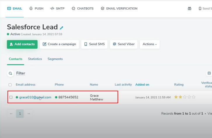 Check Response in SendPulse Dashboard