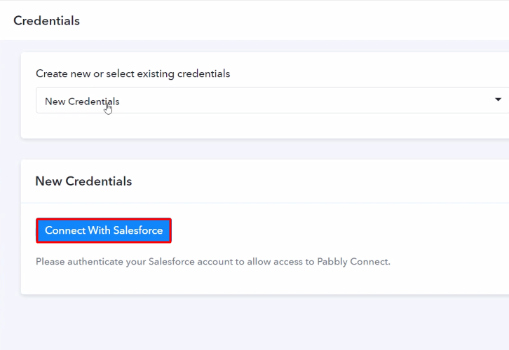 Authorize Application Salesforce