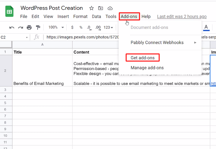 Click on Add-ons Google Sheets