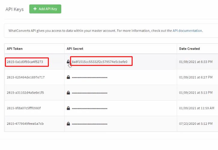 Copy API Token WhatConverts