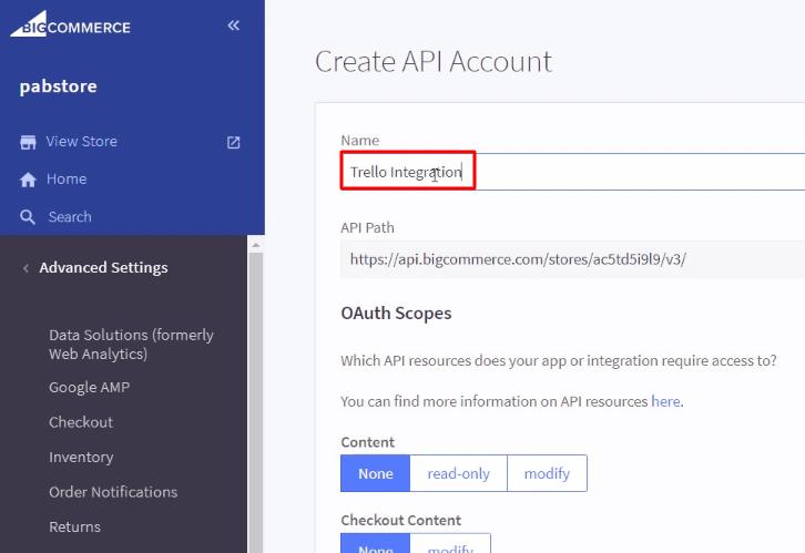 Name the API Account