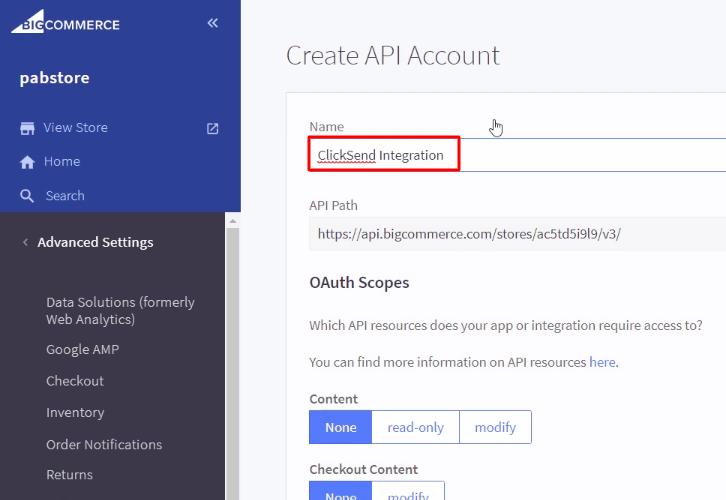 Name the API Account BigCommerce