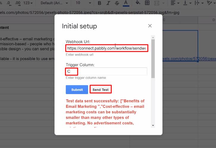 Paste Webhook URL Google Sheets