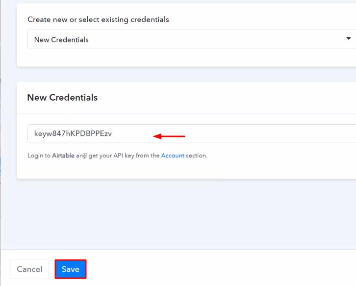 Paste the API Key Airtable