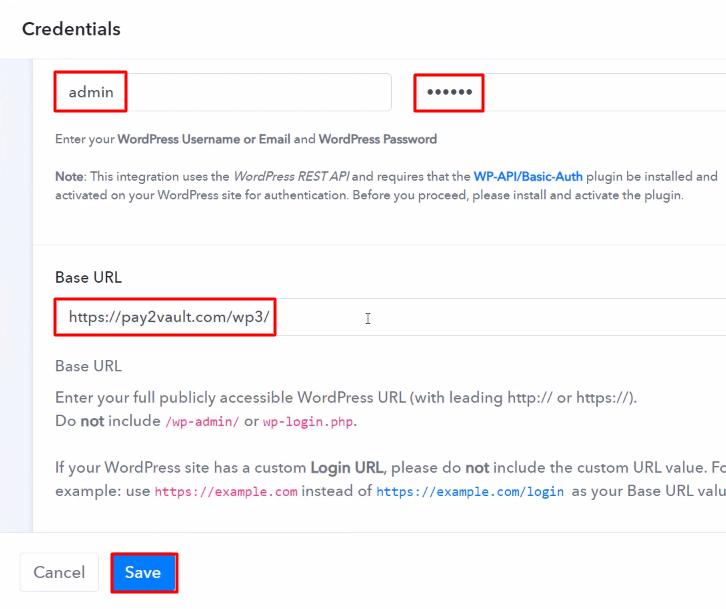 Paste the Credentials WordPress