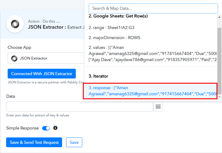 Map the Fields for Google Sheets to WhatsApp Integration