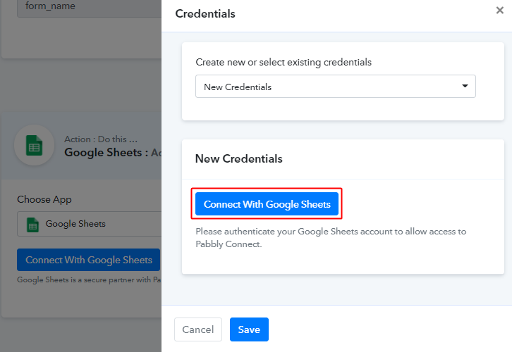 Authorize Google Account for Elementor to Google Sheets
