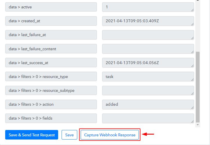 Capture Webhook Response for Asana to Google Sheets