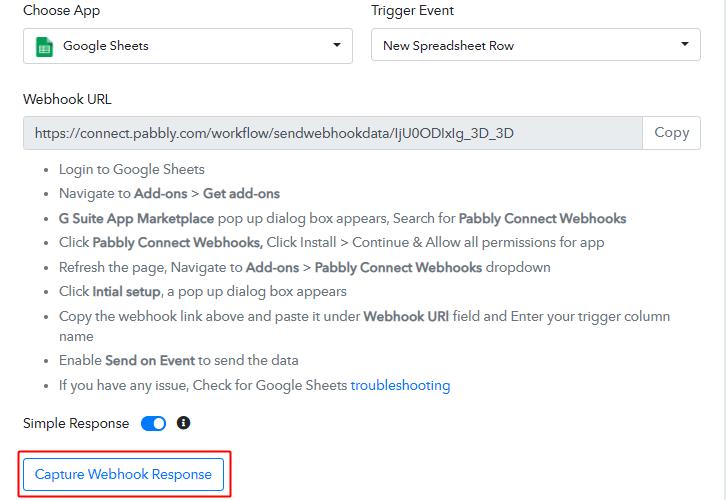 Capture Webhook Responsefor Google Sheets to Gmail Integration