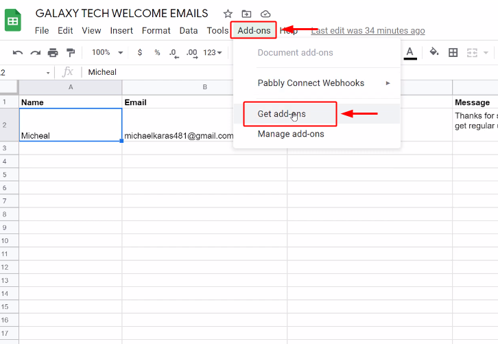 Click on Addons for Google Sheets to Gmail Integration