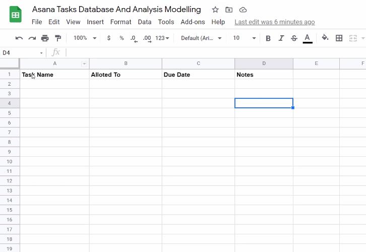 Create Google Sheet for Asana to Google Sheets