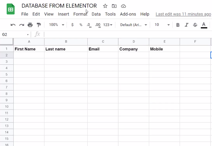 Create Google Sheet for Elementor to Google Sheets