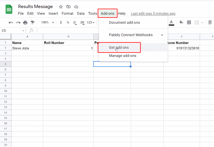 Get Addon for Google Sheets to WhatsApp Integration