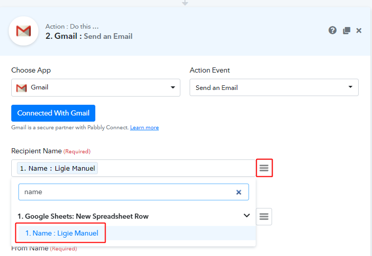Map Fields for Google Sheets to Gmail Integration