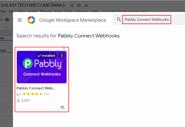 Pabbly Connect Webhook for Google Sheets to Gmail Integration