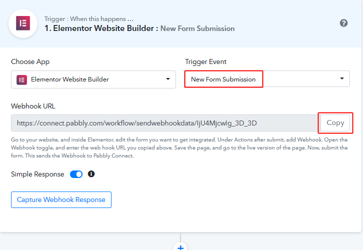 Select Event & Copy Webhook URL for Elementor to Google Sheets