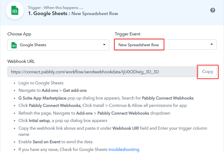 Select Event and Copy Webhook URL for Google Sheets to Gmail Integration