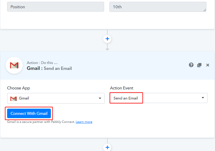 Select event and Connect with Gmail for Google Sheets to Gmail Integration
