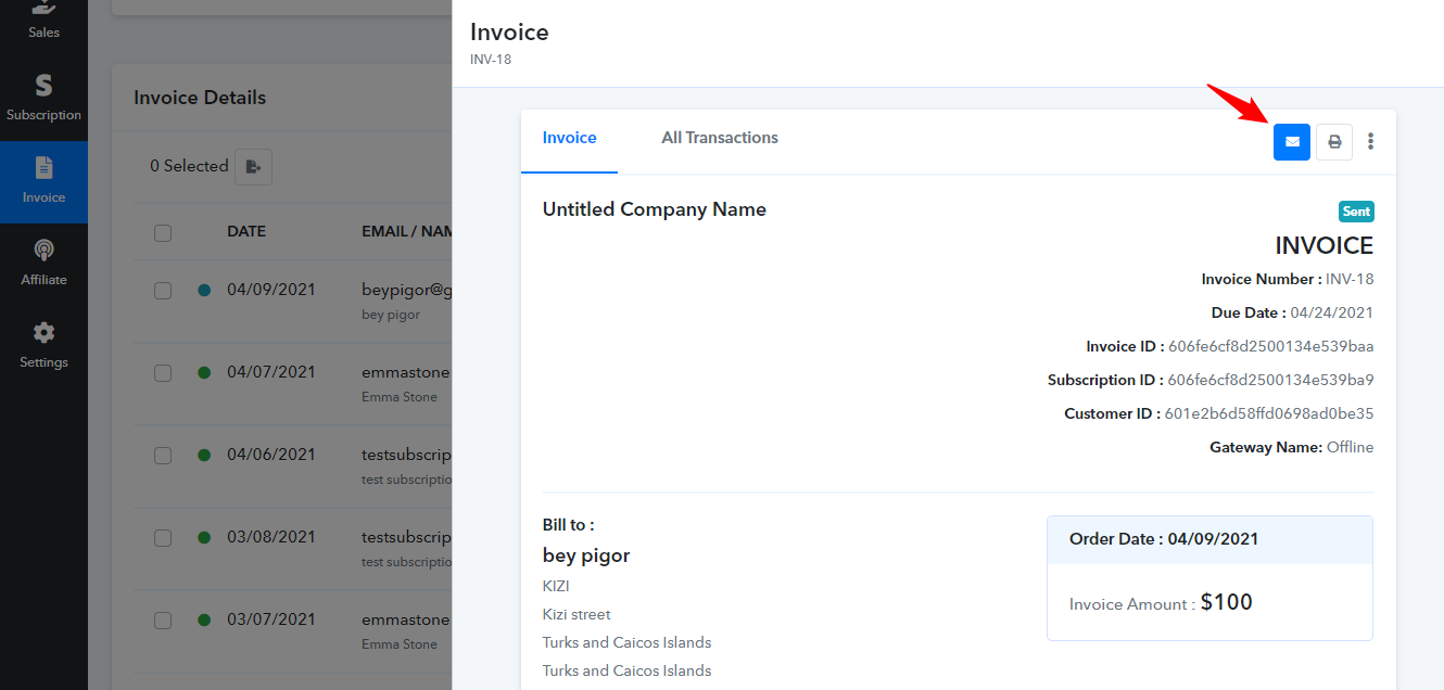 Share Invoice in Email