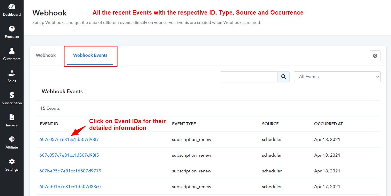 Webhook Events Navigation