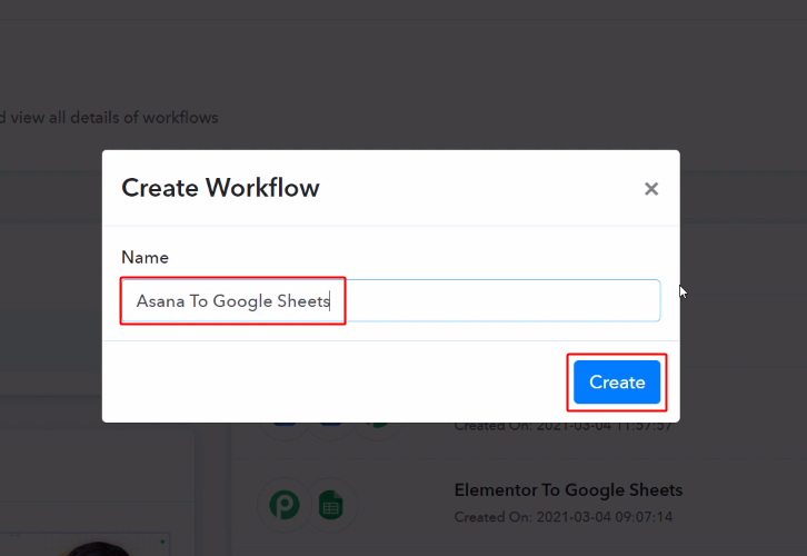 Workflow for Asana to Google Sheets